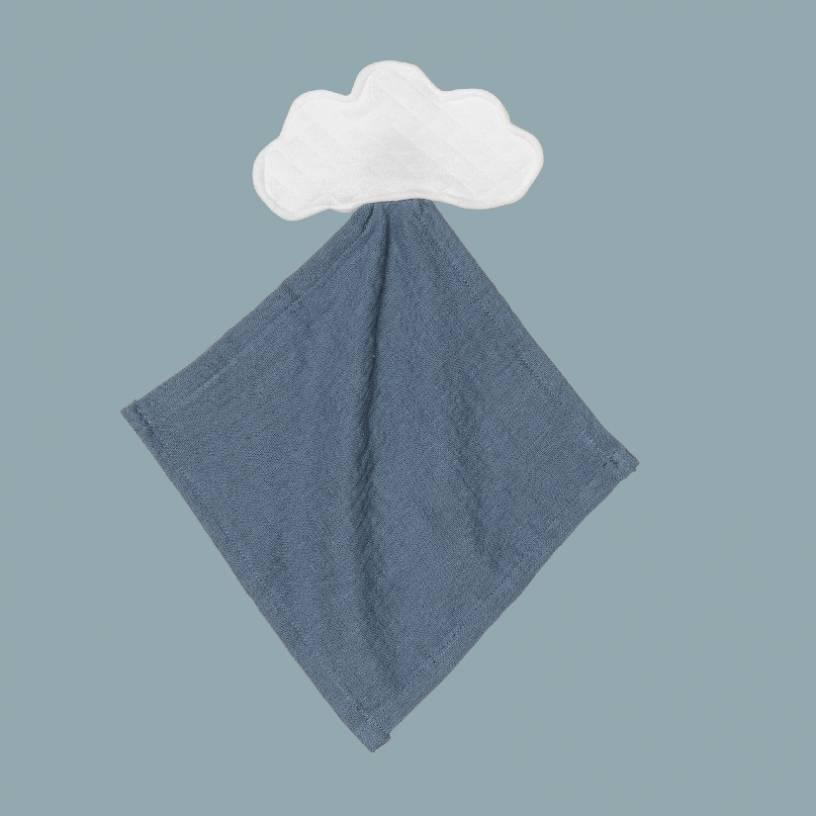 LE DOUDOU NUAGE  Taille-Taille unique Couleur-Blanc / Bleu velvet